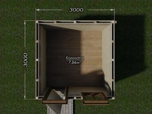 Бытовка 3х3 двухскатная крыша